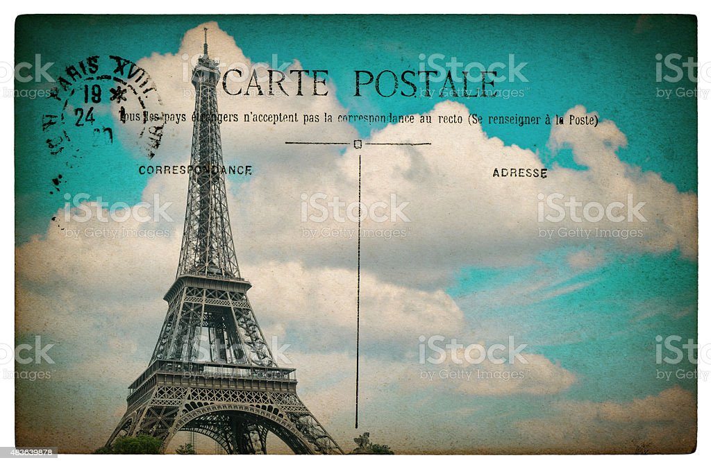 French postcard from Paris with landmark Eiffel Tower stock photo
