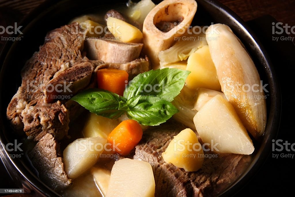 French pot-au-feu broth stock photo