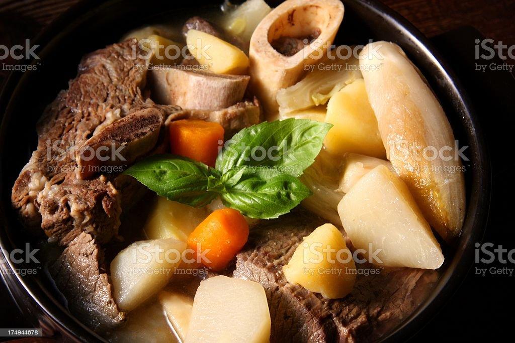 French pot-au-feu broth stock photo