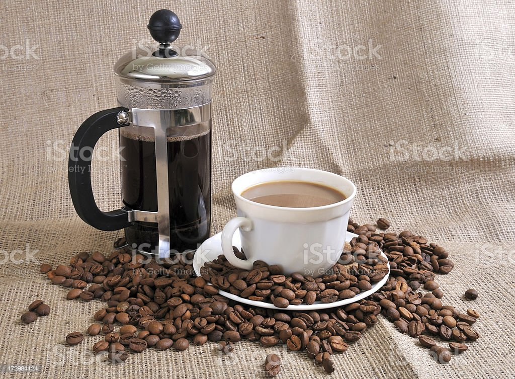 French Press and coffee royalty-free stock photo