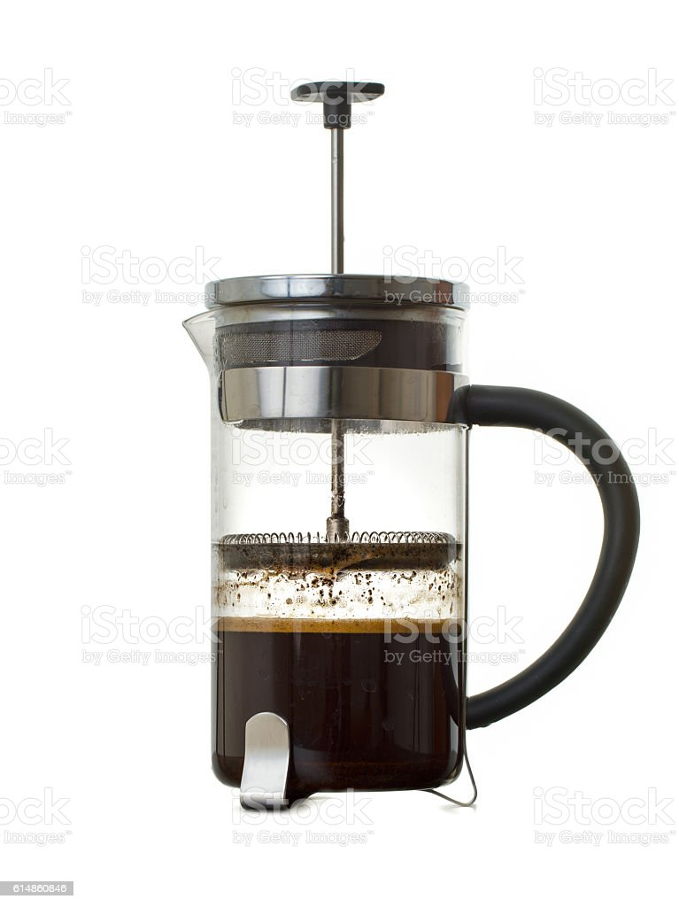 French press close up on white background stock photo