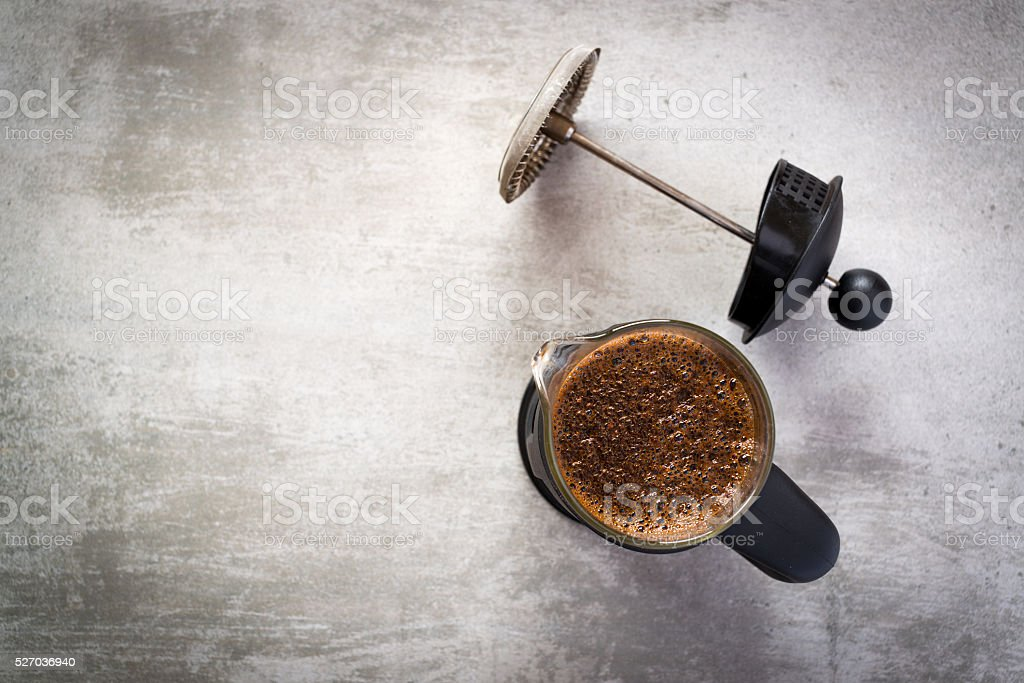 French press coffee maker stock photo