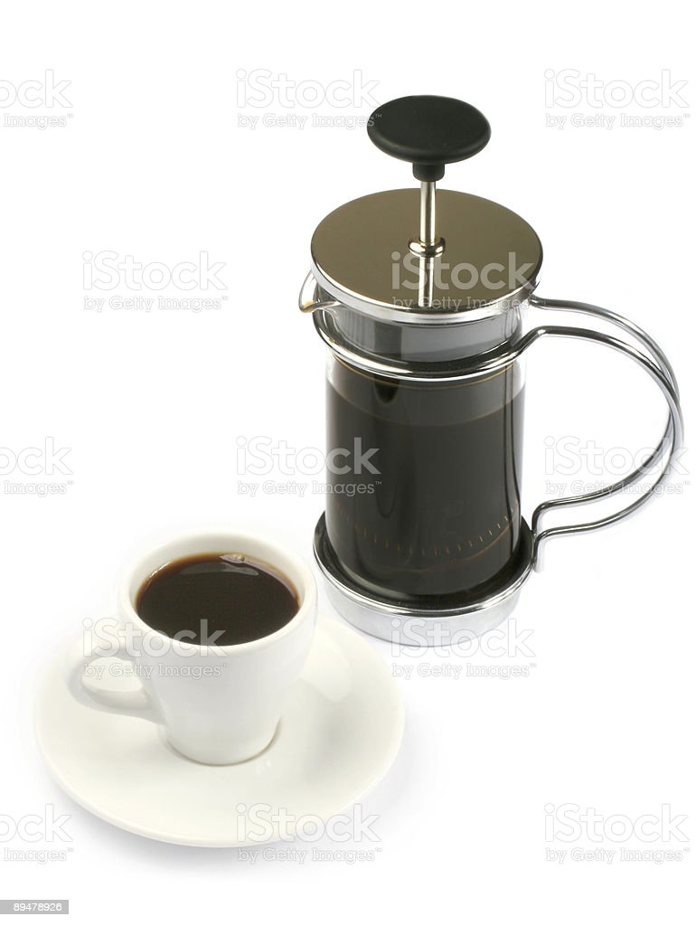 french press coffee with full cup royalty-free stock photo