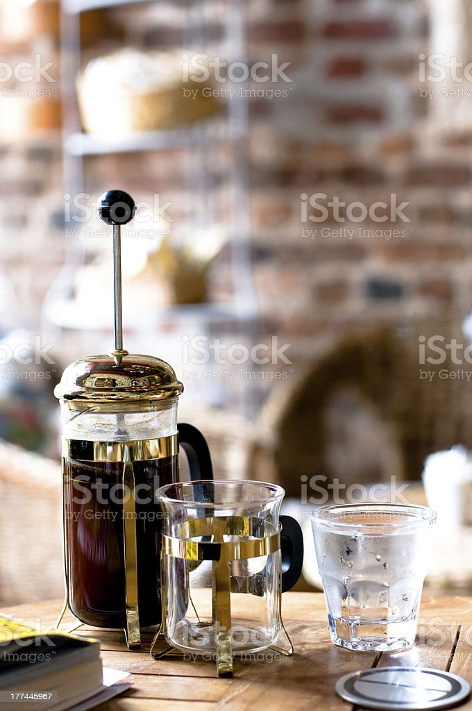 French press filter coffee stock photo