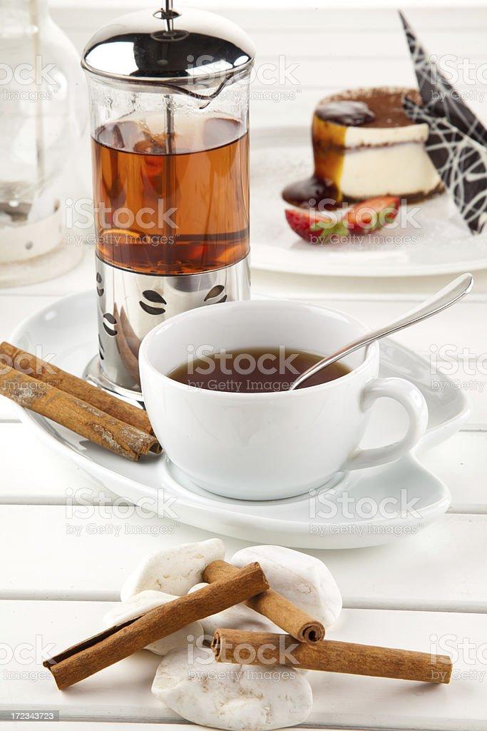 french press herbal tea royalty-free stock photo