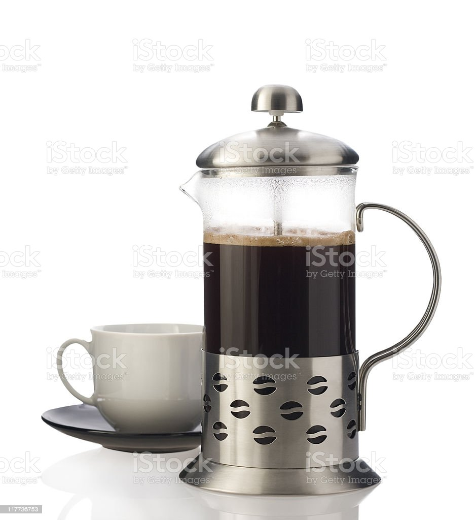 French press with cup isolated. stock photo