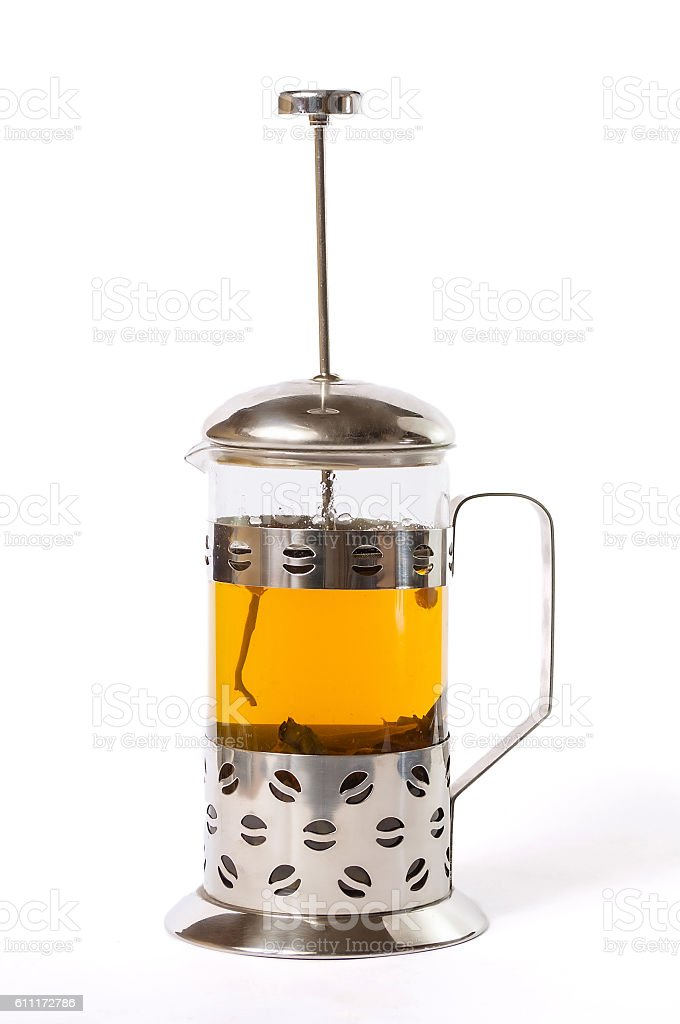 French press with tea stock photo