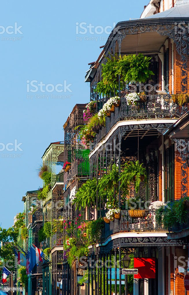 French Quarter Buildings with Garden Terraces stock photo