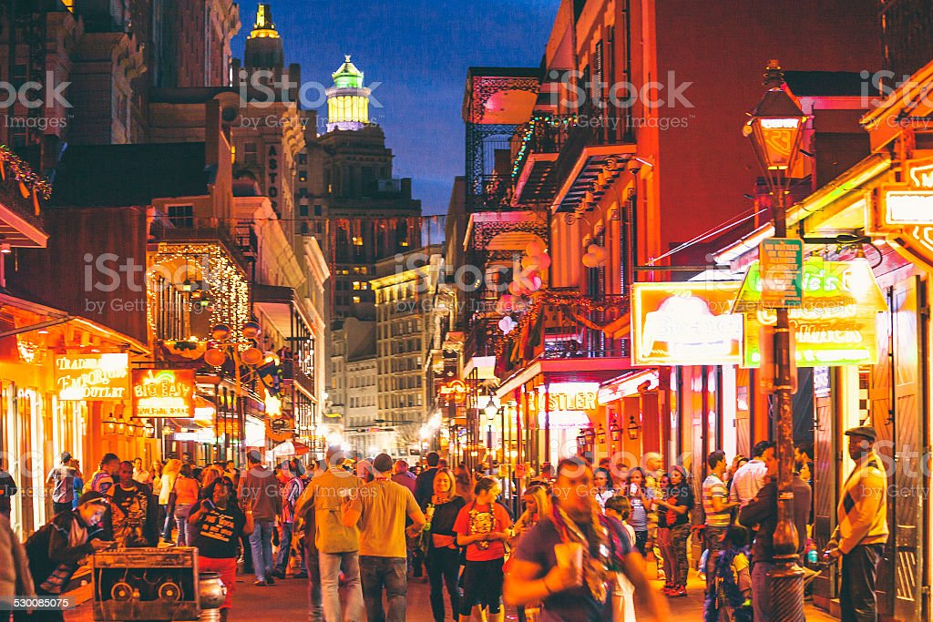 French Quarter nightlife. stock photo