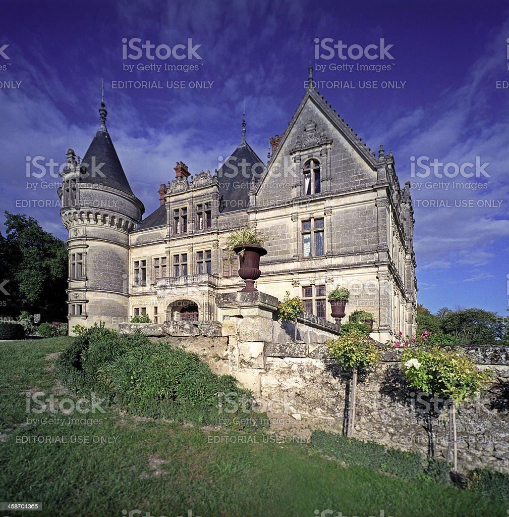 French Renaissance Chateau Against Blue Sky stock photo