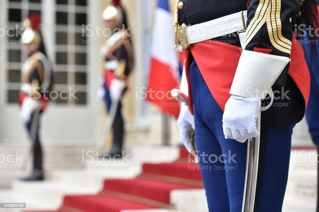 French republican guards of honor stock photo