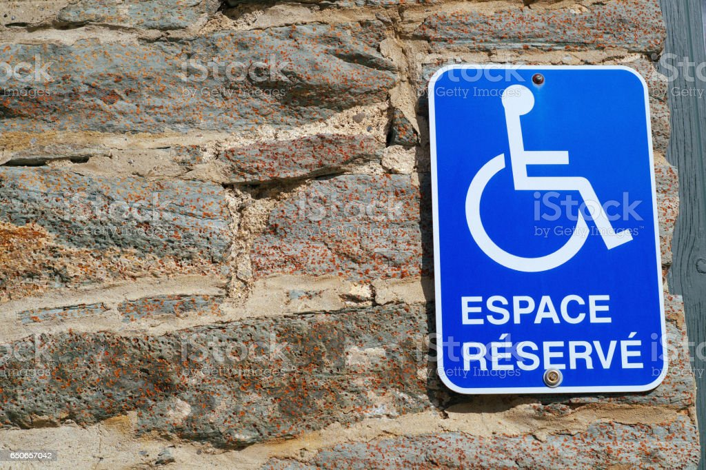 french reserved parking sign handicapped disabled icon handicap accessibility stock photo