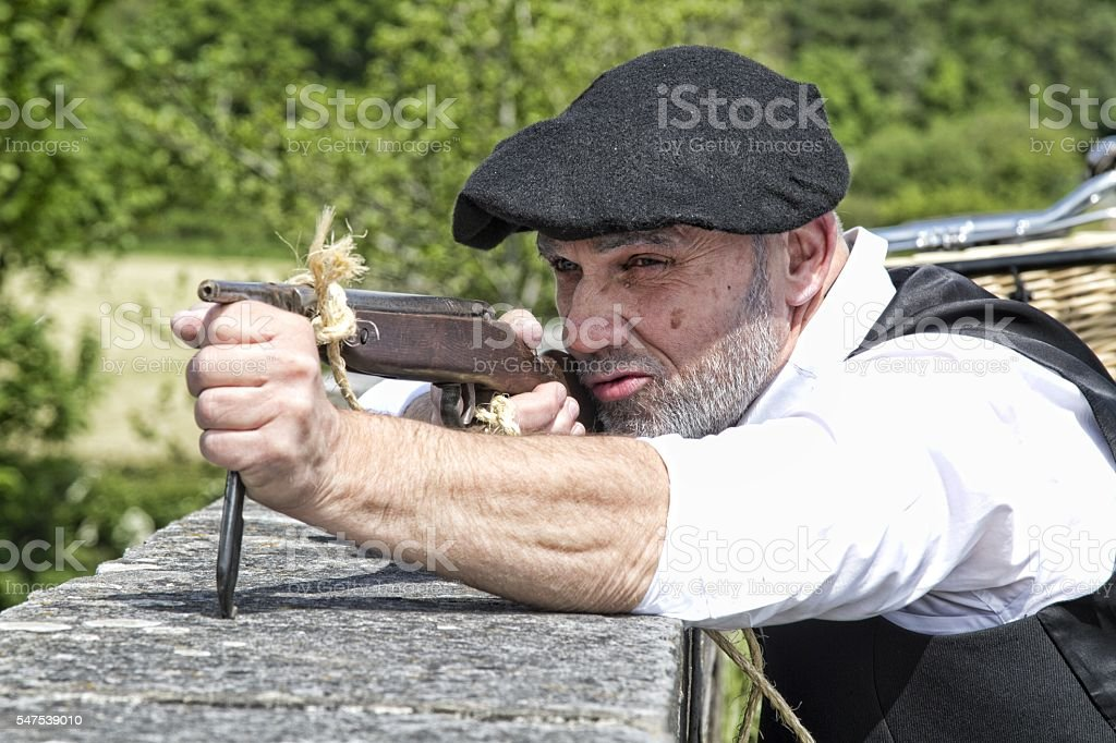 French resistance fighter, World War II reenactment stock photo