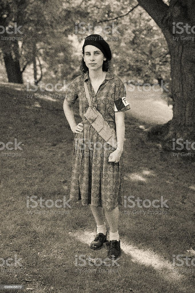 French Resistance Young Woman stock photo