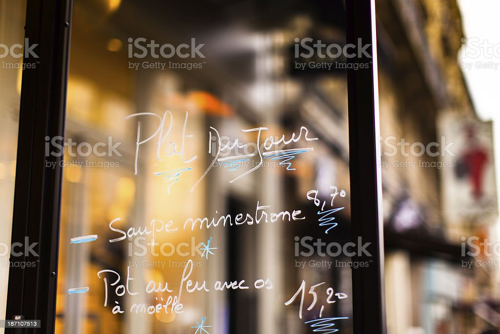 French Restaurant Specials on Glass Menu stock photo
