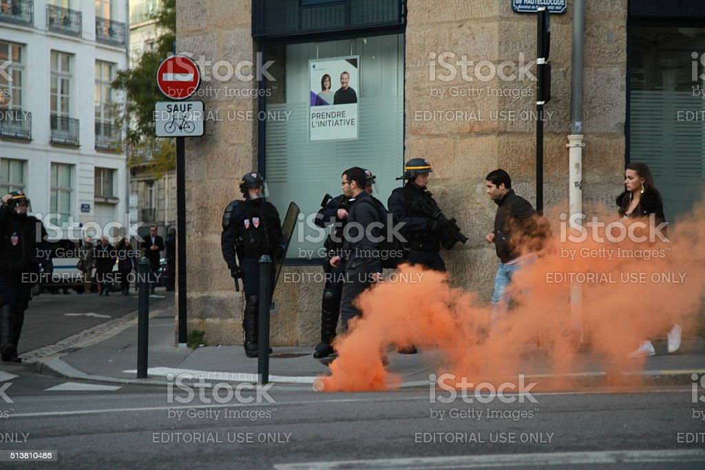 French riot policemen on alert in Nantes stock photo