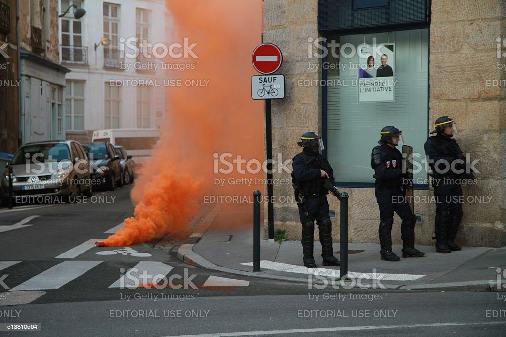 French riot policemen on alert in Nantes stock photo