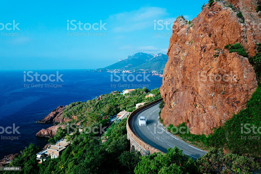 French Riviera coastline at Var stock photo