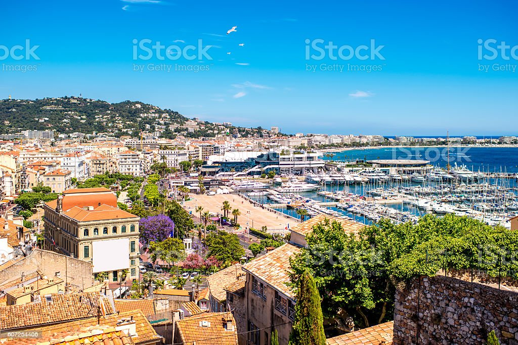 French riviera in Cannes city stock photo