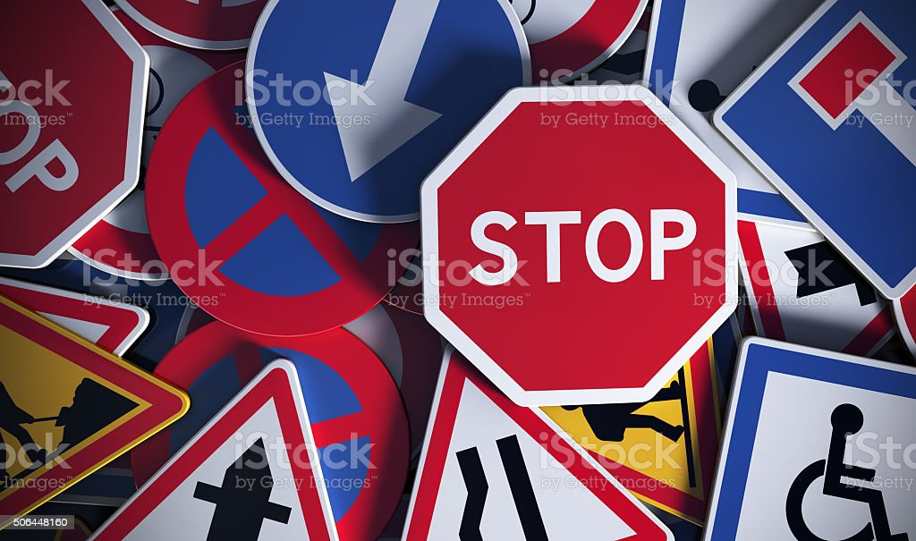 French Road Signs, Safety stock photo