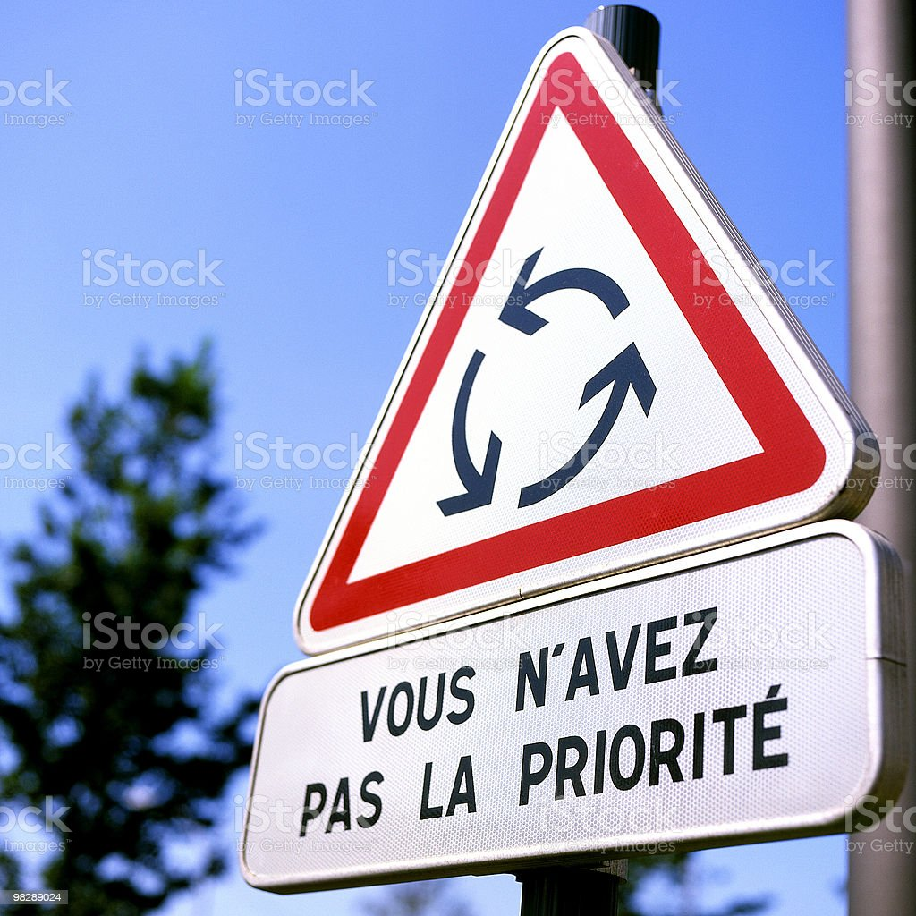 French Roadsign for roundabout Vous n'avez pas la priorite royalty-free stock photo