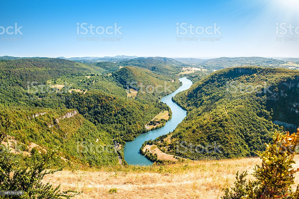 French rolling landscape countryside with Ain river view in summer stock photo