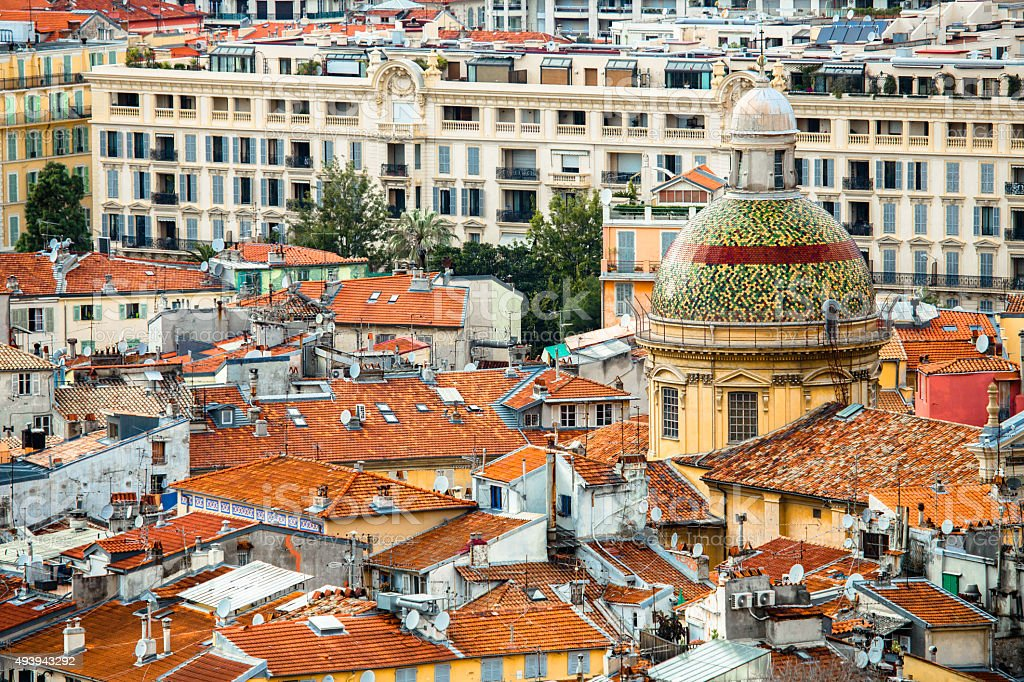 French Roofs in the City of Nice stock photo