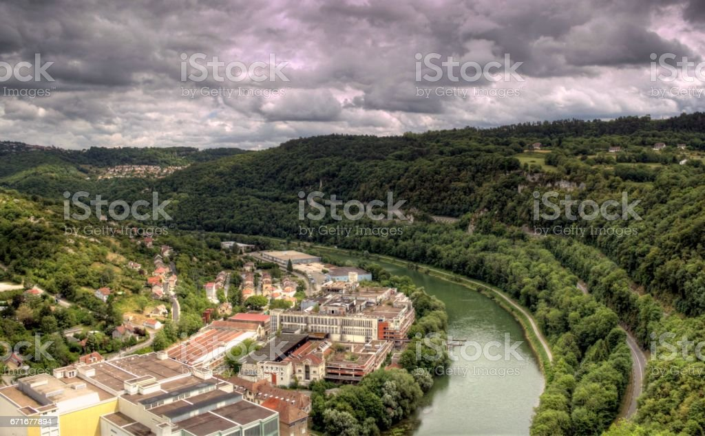 French rural landscape in mountain area stock photo