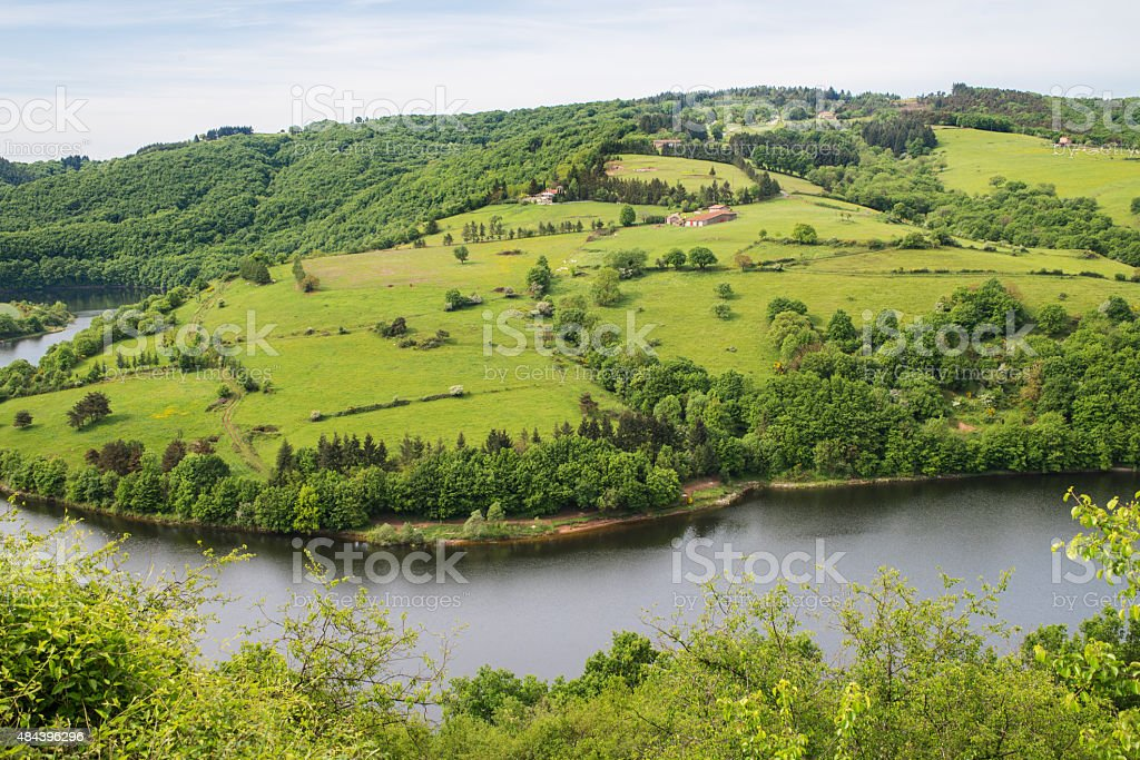 French rural landscape in  the Loire Gorges region stock photo
