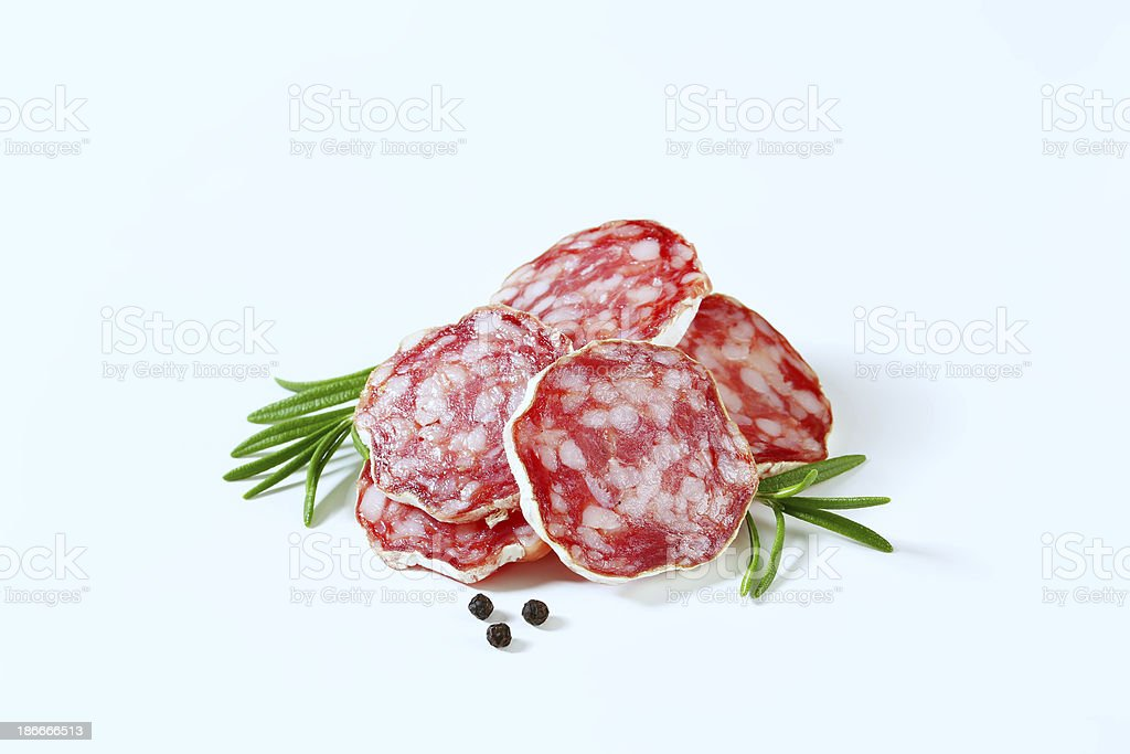 french salami slices royalty-free stock photo