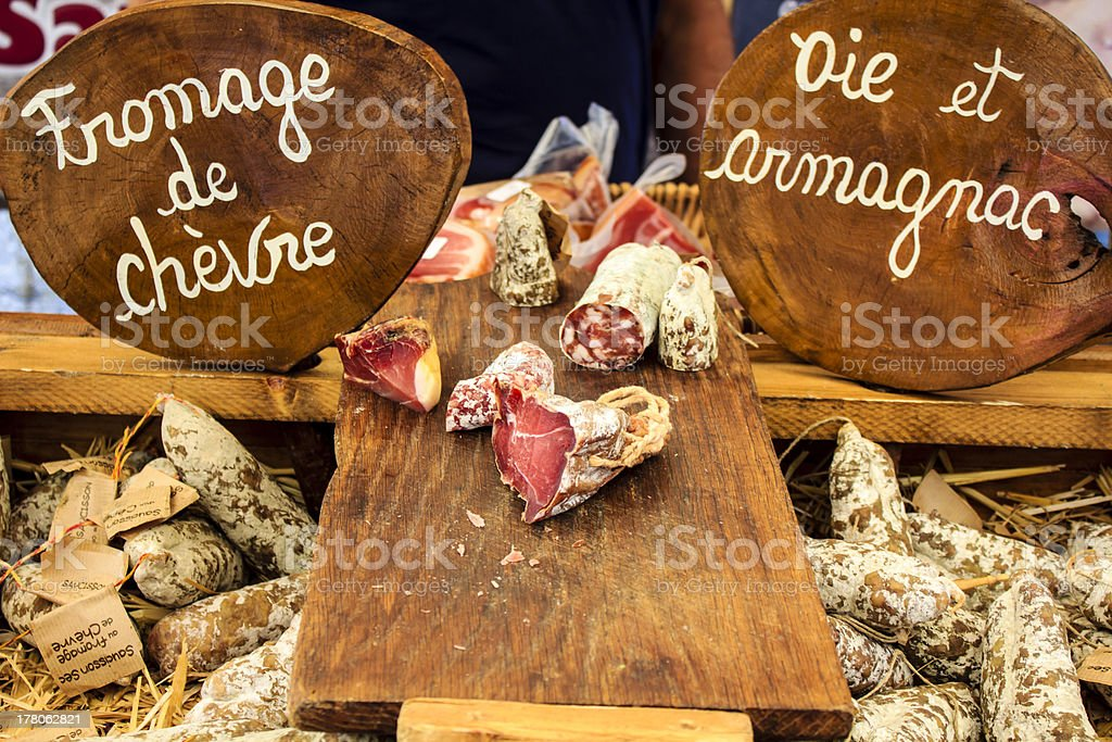 French sausages at village market royalty-free stock photo
