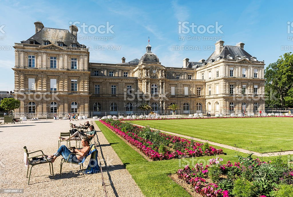 French Senato in Park of Paris - Luxembourg Gardens stock photo