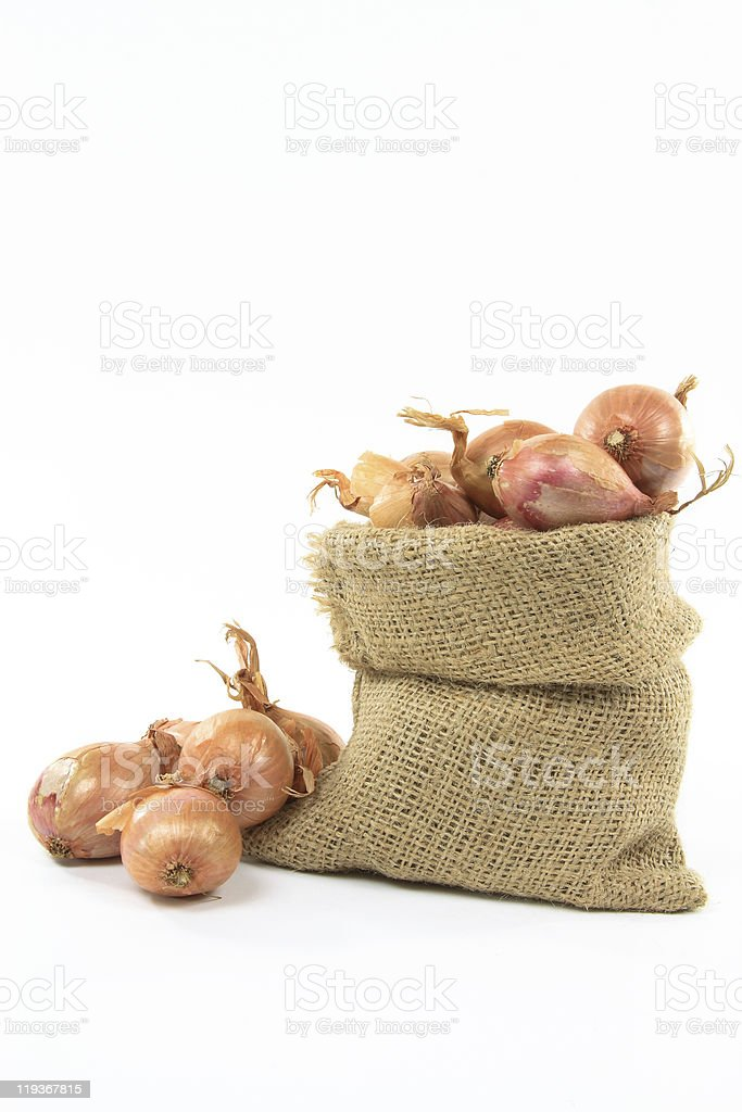 French Shallots in burlap bag. royalty-free stock photo