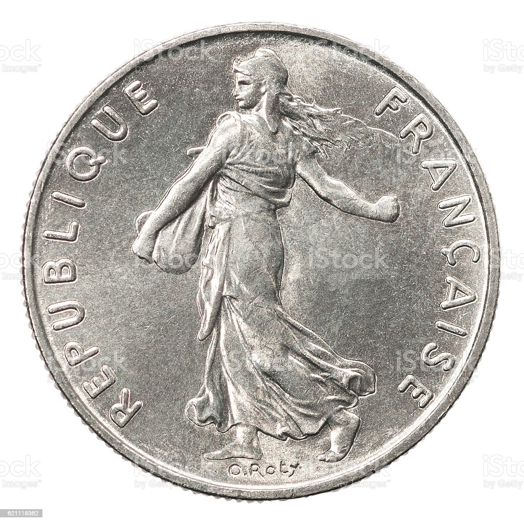 French silver coin stock photo