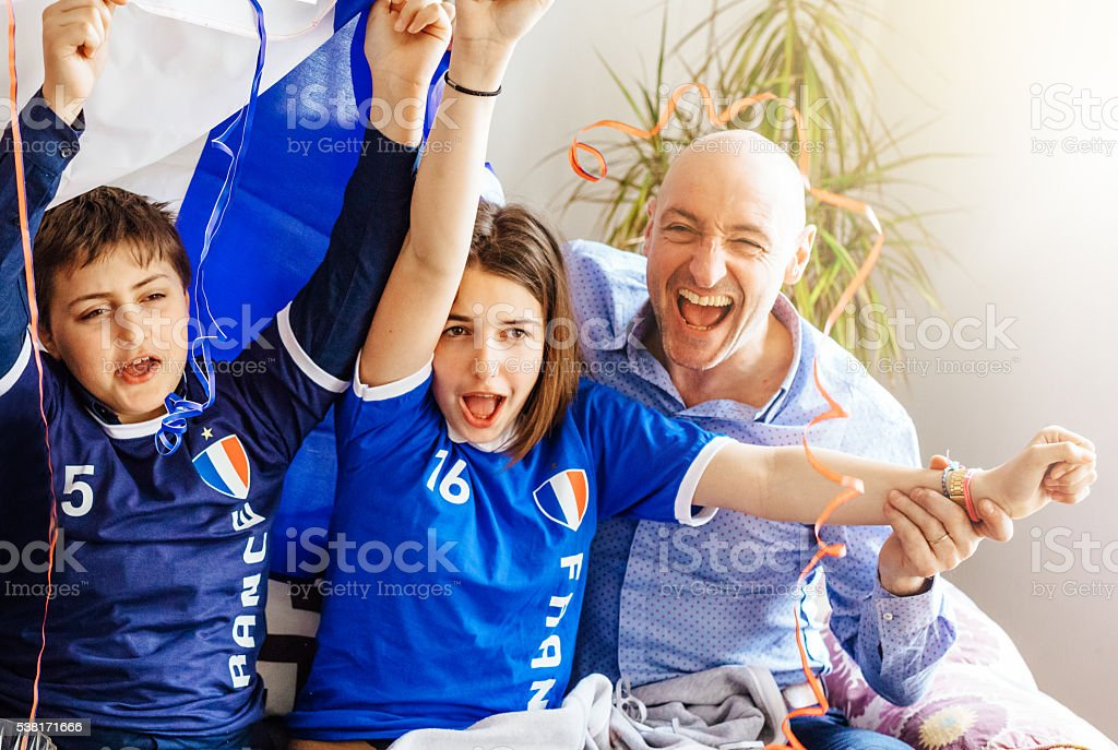 french soccer party at home stock photo