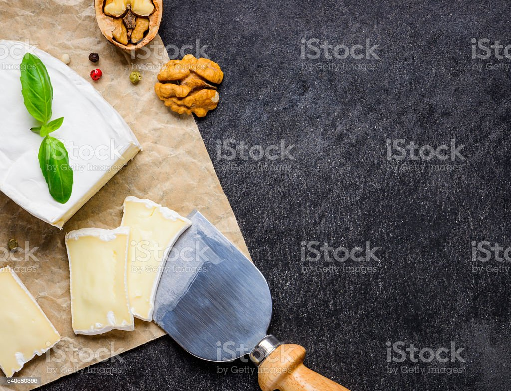 French Soft Camembert Cheese with Copy Space stock photo
