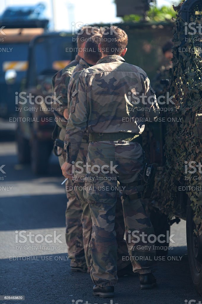 French soldiers in camouflage uniforms stock photo