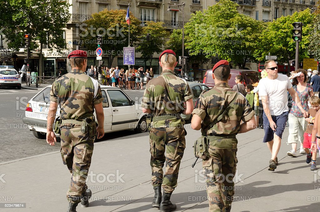 french soldiers in Paris against the risk of terrorist attack stock photo