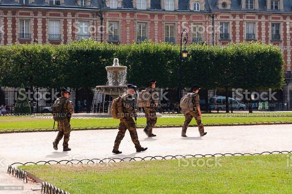 French soldiers patrol stock photo