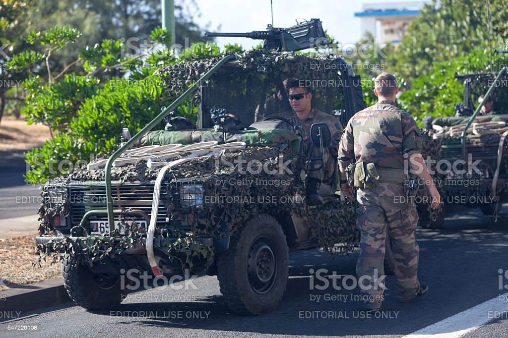 French soldiers with their Jeep stock photo
