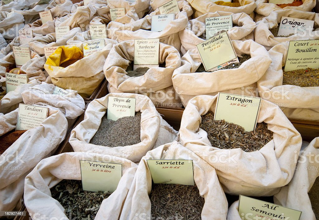 French spices at the street market royalty-free stock photo
