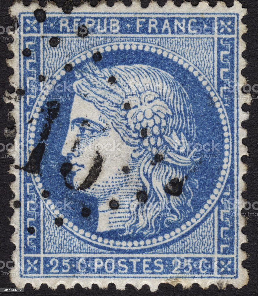 French stamp ca. 1870 in the Ceres series stock photo