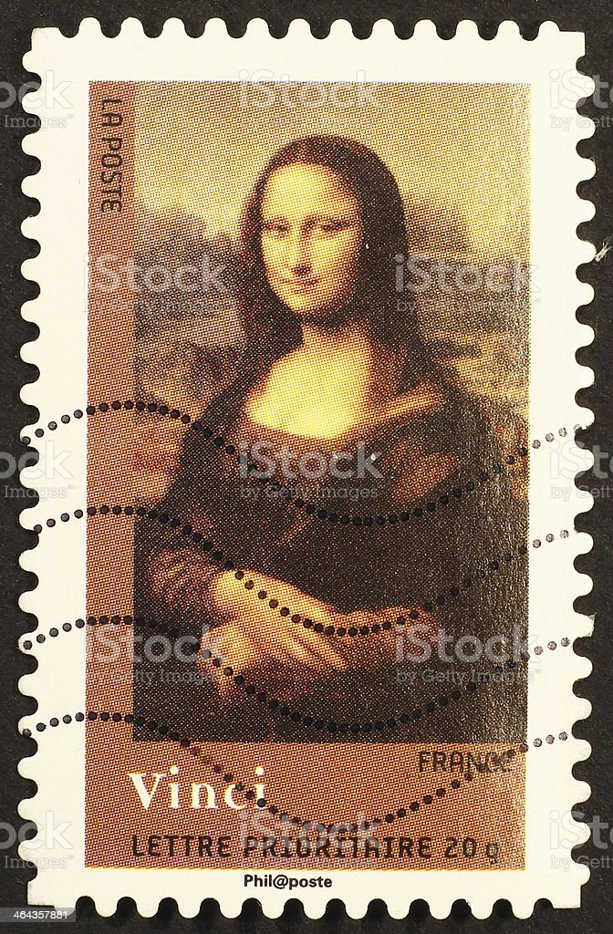 French stamp reproducing Mona Lisa by Leonardo stock photo
