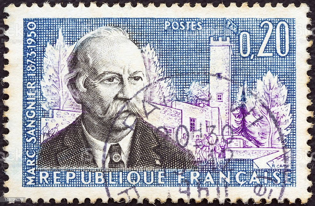 French stamp shows a portrait of Marc Sangnier (1960) stock photo