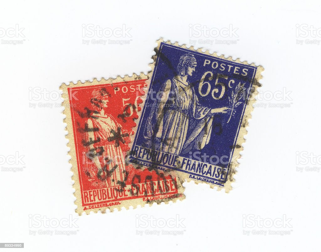 french stamps stock photo