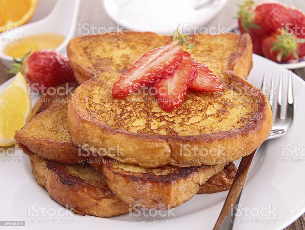 french sugar toast with strawberry stock photo