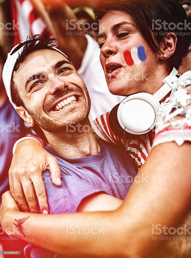 french supporters at stadium cheering stock photo