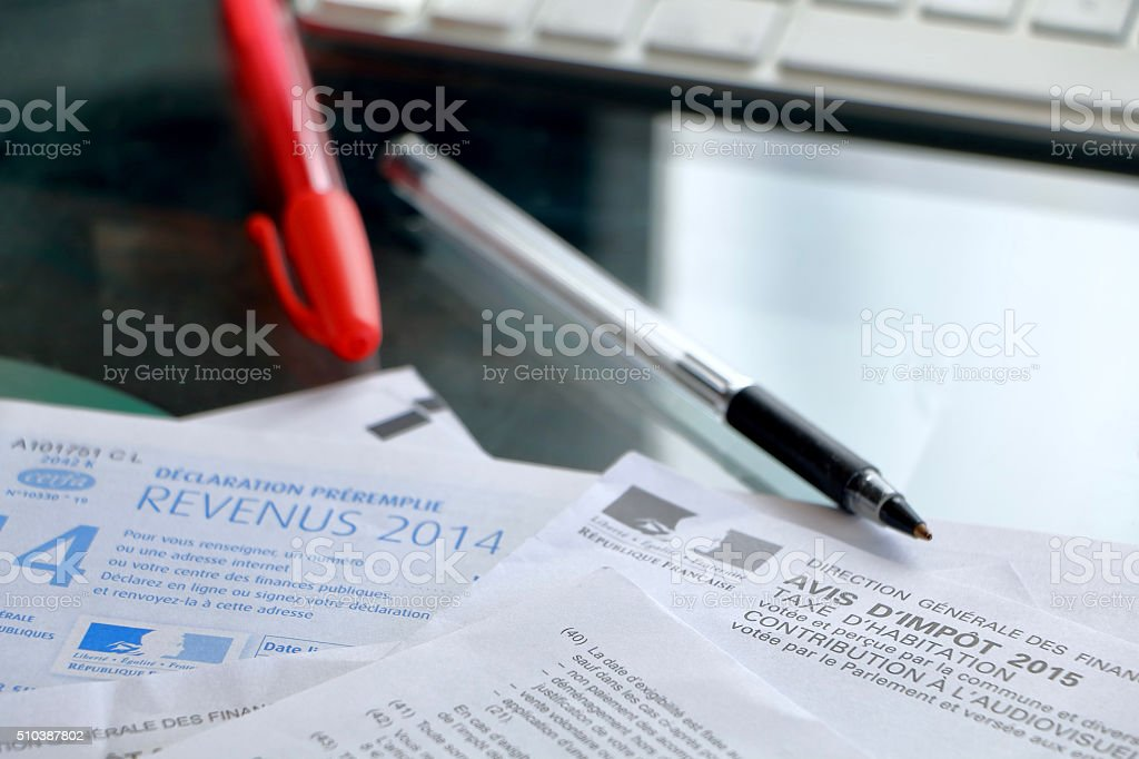 French tax forms stock photo