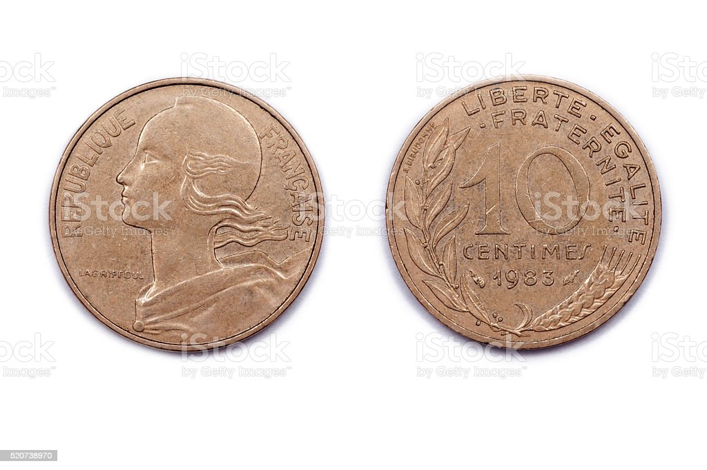French ten Centimes coin 1983 stock photo