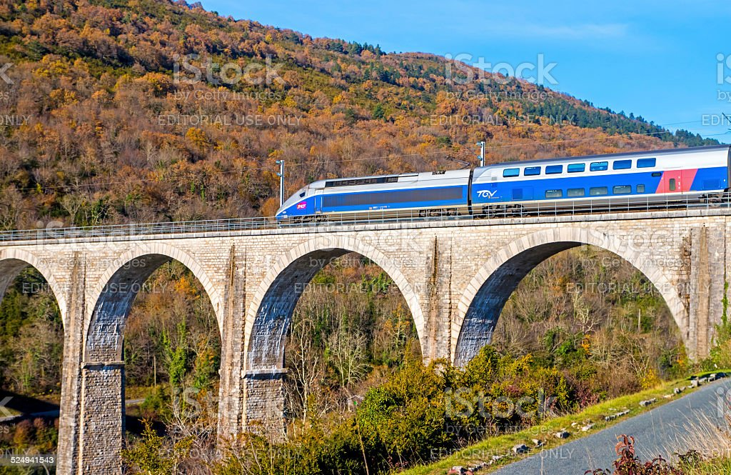 French TGV on viaduct in Rhone-Alpes France stock photo